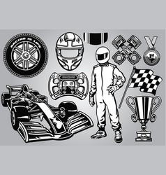 Formula racing set black and white vector
