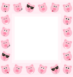 Frame with cute pink pigs vector