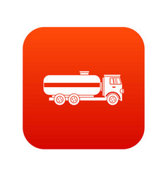 fuel tanker truck icon digital red vector image