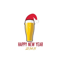 glass of beer in merry christmas hat vector image
