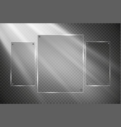 Glass plates are installed glass banners vector