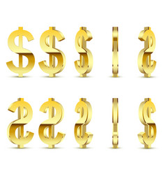 gold sign is a dollar on white background vector image