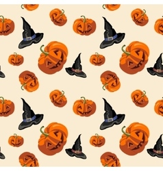 Halloween pumpkins and hat witches pattern vector