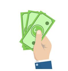 hand holding money cash bills in hand payment vector image