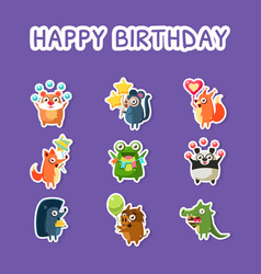 happy birthday set cute funny animals stickers vector image