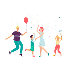 happy cartoon family dancing and celebrating vector image