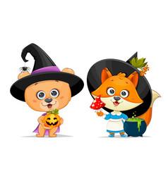 Happy halloween cute bear and funny foxy vector