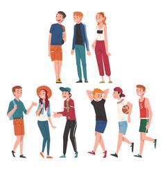 happy teenage boys and girls set cheerful vector image