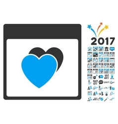 Hearts Calendar Page Flat Icon With Bonus vector