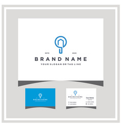 Home search logo design and business card vector