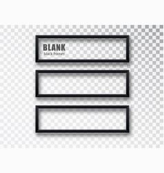 Horizontal black frame mockup template isolated on vector