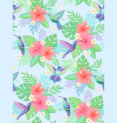 hummingbirds exotic pattern vector image
