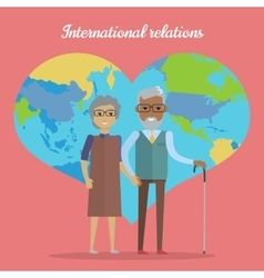 International Relations Travel in Old Age Concept vector