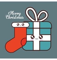 Kawaii booy and gift of christmas season vector