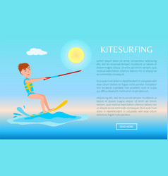 Kitesurfing web poster with kitesurfer smiling boy vector