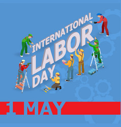 Labor day isometric icons vector