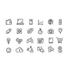 Line icon set collection black outline vector