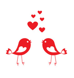 love cute birds with red hearts vector image