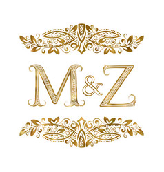M and z vintage initials logo symbol letters vector