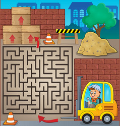 maze 3 with fork lift truck theme vector image