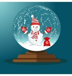 Merry christmas glass ball with snowman vector image