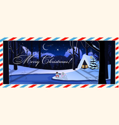 merry christmas postcard of snowy night landscape vector image