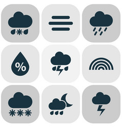 Meteorology icons set collection of wet nightly vector