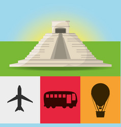 Mexican tower architecture with icons travel tours vector