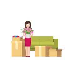 moving a young girl with packed boxes around vector image