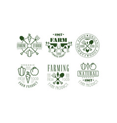 natural organic farm food retro logo templates set vector image