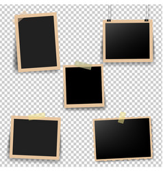 Old photo frame with transparent background vector