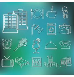 Outline hotel and accommodation icons vector
