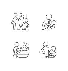 parent-child bonding linear icons set vector image