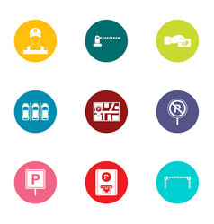 Parking facilities icons set flat style vector