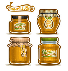 Pineapple jam in glass jars vector