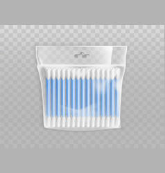 Plastic packet with cotton buds realistic vector