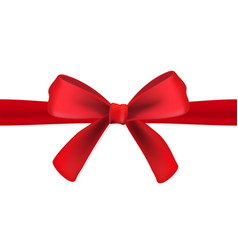 realistic red gift satin ribbon with a bow on vector image
