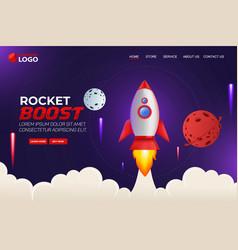Rocket boost website landing page template design vector