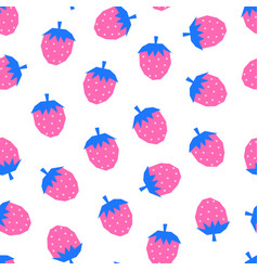 seamless pattern strawberries pink blue vector image