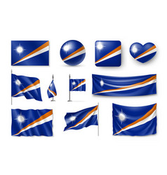 Set marshall islands realistic flags banners vector