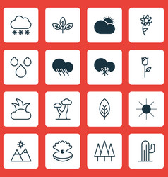 Set of 16 nature icons includes cactus forest vector