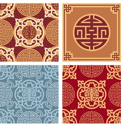 Set of oriental seamless patterns vector
