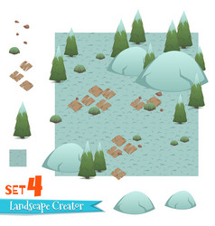 Set of winter forest landscape vector