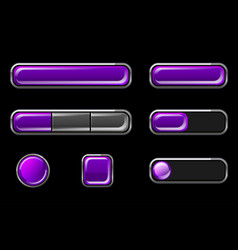 set purple glossy buttons different shapes vector image