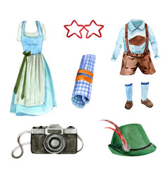 Set watercolor design camera outfit on vector