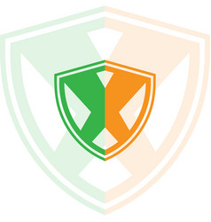 shield with letter x logo vector image