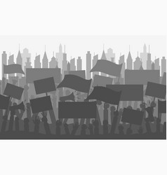 Silhouette crowd of people protesters vector