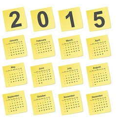 simple calendar 2015 year on yellow stick notes vector image