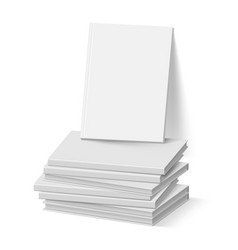 Stack of blank gray books on white business vector
