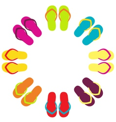 Summer colorful flipflops in circle vector image